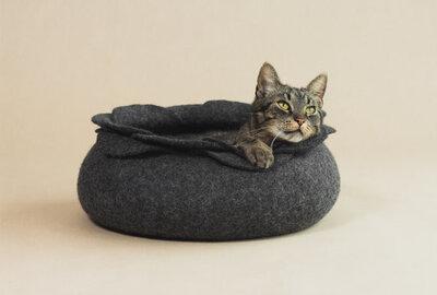 Vilten kattenmand Roos - Grijs