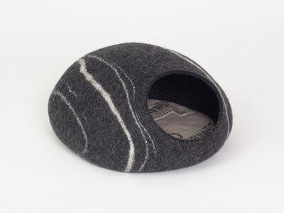 Vilten kattenmand Marmer - donkergrijs